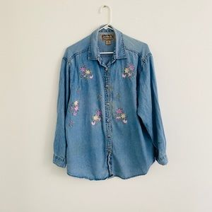 Vintage 1986 Floral Embroidered Denim Shirt MP
